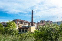 Melegnano en la provincia de Milán, de Lombardía - Italia - durante un día soleado y las nubes 10/05/2018 en el 3:30 P.M. en Mele Fotos de archivo libres de regalías