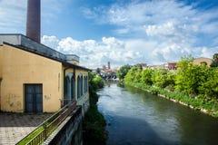 Melegnano na província de Milão, de Lombardy - Itália - durante um dia ensolarado e nuvens 10/05/2018 no 3:30 pm em Melegnano, Lo Fotografia de Stock Royalty Free