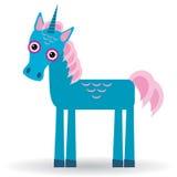 Melena azul divertida del rosa del unicornio en un fondo blanco Imagen de archivo