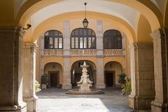 Melfi (Italy) - Court of historic palace. Melfi (Potenza, Basilicata, Italy) - Court of historic palace royalty free stock photos