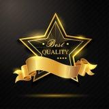 Melhor crachá dourado da qualidade Imagens de Stock