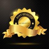 Melhor crachá dourado da qualidade Fotografia de Stock Royalty Free