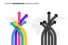 Melhor escolha conceptual Ilustração do vetor com as estradas transversaas sobre Worldmap Molde para seu Infographic moderno ilustração do vetor