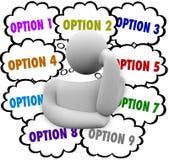 A melhor escolha de Person Considers Many Options Choose Foto de Stock