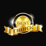 A melhor etiqueta bem escolhida do vetor com fita do ouro Imagem de Stock Royalty Free