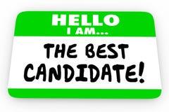 A melhor etiqueta da etiqueta do nome do candidato olá! ilustração stock