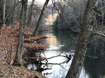 A melhor foto da ponte do inverno do rio do moh Fotos de Stock Royalty Free