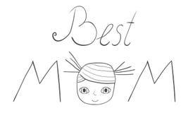A melhor mão da mamã escrita letras com uma cara da menina ilustração royalty free