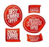 A melhor oferta do verão, ofertas novas da oferta do verão, as exclusivas e as especiais, etiquetas da venda Foto de Stock