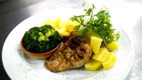 A melhor receita grelhada saudável deliciosa da galinha com RUB da especiaria imagem de stock
