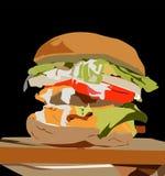 Melhore o pão e o hamburguer dos bolos prontos para você na tabela ilustração stock