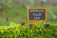 Melhore seu texto da vida no quadro-negro pequeno imagens de stock royalty free
