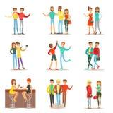 Melhores amigos felizes que têm o bom tempo junto, saindo e falando o grupo de ilustrações temáticos da amizade Foto de Stock
