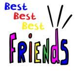 Melhores amigos tirados m?o da frase Ilustra??o escrita m?o ilustração stock