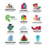 Melhoria dos logotipos construção e home do vetor Foto de Stock