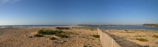 Melides lagoon panorama stock photos