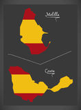 Melilla and Ceuta map with Spanish national flag illustration Stock Photography