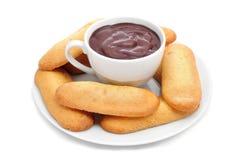 Melindros de Xocolata i, chocolat chaud avec les pâtisseries typiques du chat Photographie stock libre de droits