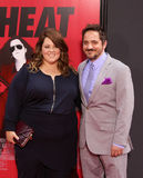 Melissa McCarthy and Ben Falcone. Actress Melissa McCarthy and husband and comedy improv teacher, Ben Falcone, arrive on the red carpet at the Ziegfeld Theatre stock image