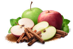 Melissa, red and green apples with cinnamon, paths Royalty Free Stock Images
