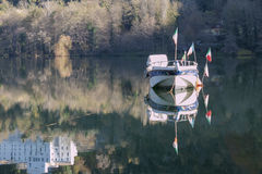 Melissa. A ship called Melissa and its reflection in the Monticchio small lake royalty free stock photos
