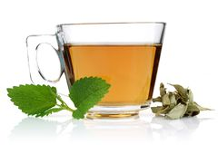 Melissa tea in a glass cup and green lemon balm leaves royalty free stock images