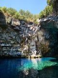 Melissani grotta, Kefalonia Arkivbild