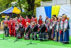 Melitopol na Październiku 14, 2017 Kozacki chór śpiewa w Ukraina na Kozackim dniu obraz stock