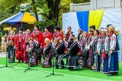 Melitopol na Październiku 14, 2017 Kozacki chór śpiewa w Ukraina na Kozackim dniu obraz royalty free
