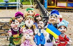 Melitopolstad 14 Oktober 2017 Alle-Oekraïense tentoonstelling van poppen stock fotografie