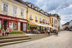 Beautiful cobbled street in the historical centre of town of Melk. Lower Austria. MELK, AUSTRIA - JULY 8, 2018. Beautiful cobbled street in the historical stock photos