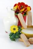 Melk en bloemen Royalty-vrije Stock Afbeelding