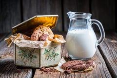 Melk en chocoladekoekjes voor ontbijt Stock Foto's