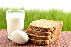 Melk en ei met brood stock afbeelding