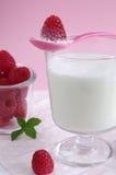 Melk en framboos Royalty-vrije Stock Foto's