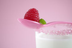 Melk en framboos Royalty-vrije Stock Afbeelding