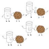 Melk en het karakter van koekjesvrienden - de vastgestelde aanpassing die, heelt dansen Stock Foto's