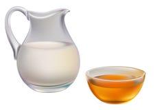 Melk en honing Royalty-vrije Stock Foto's