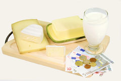Melk en Kaas Royalty-vrije Stock Fotografie
