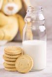Melk en koekjes over steenachtergrond Stock Foto's