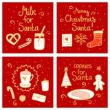 Melk en koekjes voor Kerstman Vrolijk de kaartmalplaatje van de Kerstmis Vastgesteld Groet Vectorillustratiehand getrokken noords vector illustratie
