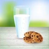 Melk en koekjesillustratie, chocoladeschilfer Stock Afbeelding