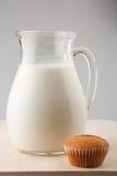 Melk en muffin Royalty-vrije Stock Foto's