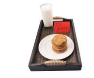 Melk en naar huis Gemaakte Koekjes voor Santa Claus II Stock Foto