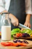 Melk in fles Stock Foto