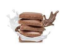 melk geïsoleerde plons en chocolade royalty-vrije illustratie