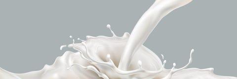 Melk het bespatten effect Vloeibare drank die neer gieten Ontwerpelement voor reclame Vector 3d realistische illustratie Royalty-vrije Stock Afbeelding
