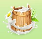 melk Houten emmer Natuurlijke zuivelproducten 3d vectorpictogram Stock Afbeeldingen