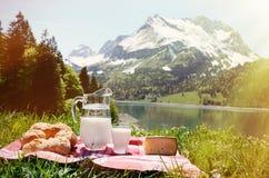 Melk, kaas en brood bij een picknick wordt gediend die Stock Foto