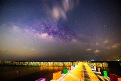 Melkachtige manier bij het overzees in donkere nacht Royalty-vrije Stock Fotografie